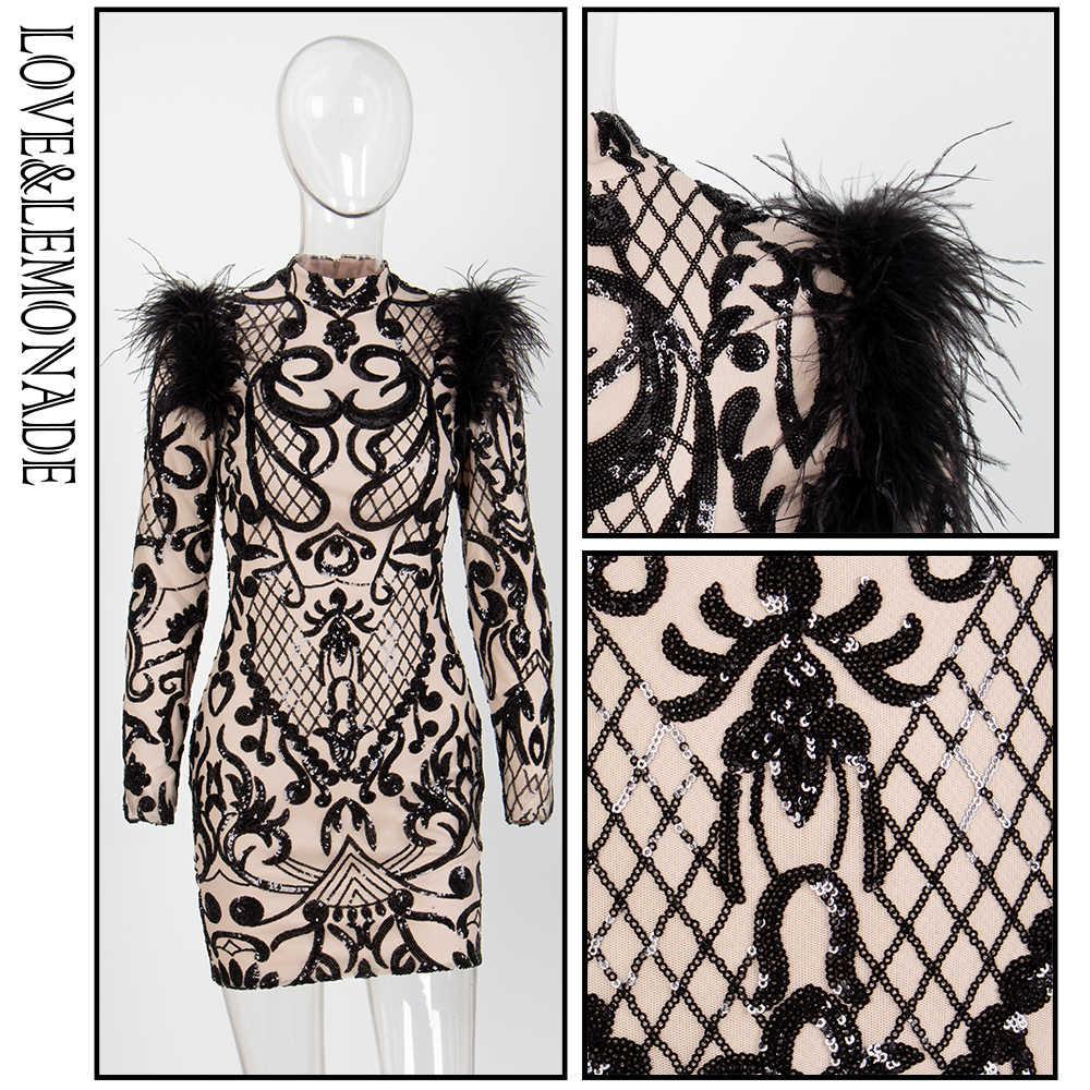 Love & Lemonade черное платье с длинным рукавом и воротником-стойкой с геометрическим узором LM81056