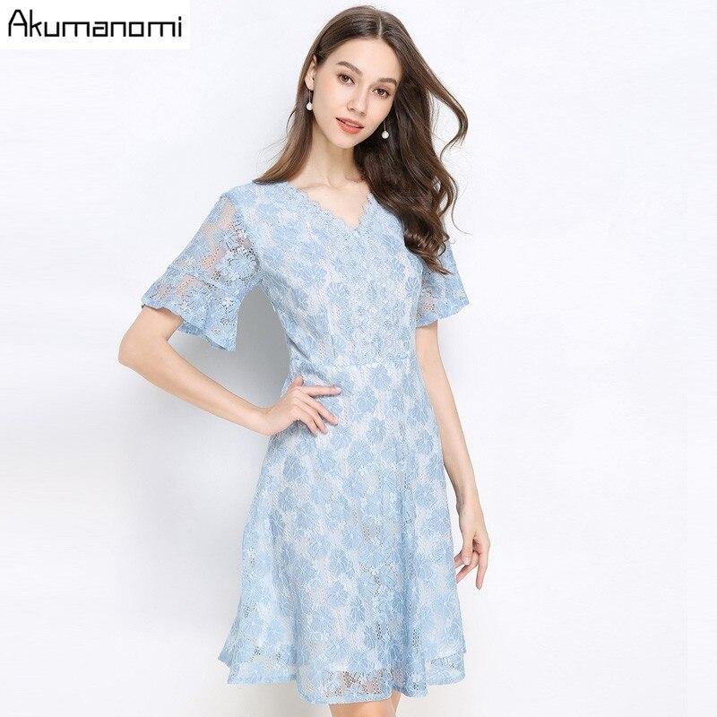 Été dentelle Robe femmes 2019 décontracté grande taille 5xl-l v-cou élégant manches courtes bleu Robe Robe Vestidos De Verano livraison gratuite