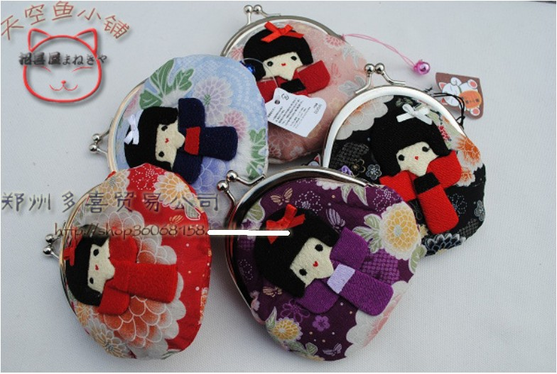 10 pieces cute hasp Japanese kimono girl doll small Portable Wallet coin purse coin bag Japan Style flowers in back side