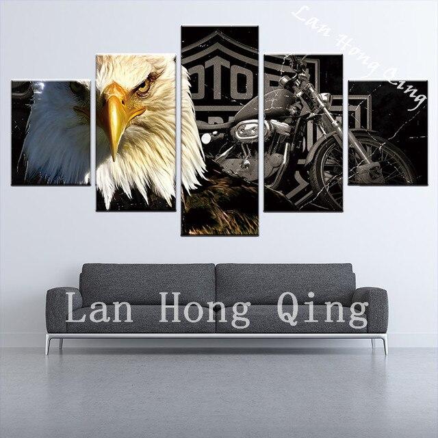 Goccia shippping 5 piecesl Vendita Calda Circa animali pittura HD poster  camera da letto decorazione della parete pittura a olio su tela con cornice  ...