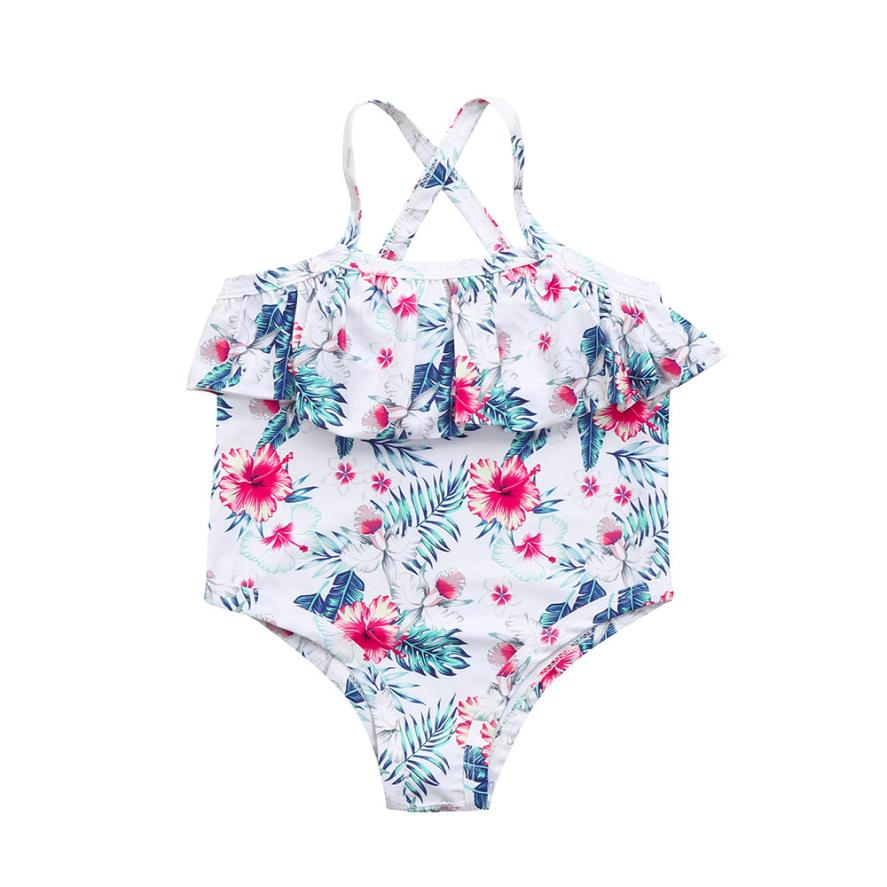 2018 solid Baby Girls Summer Swimwear Toddler Baby Girl Floral Straps Swimsuit Bathing Beach Romper Clothes Bather Suit #xqx