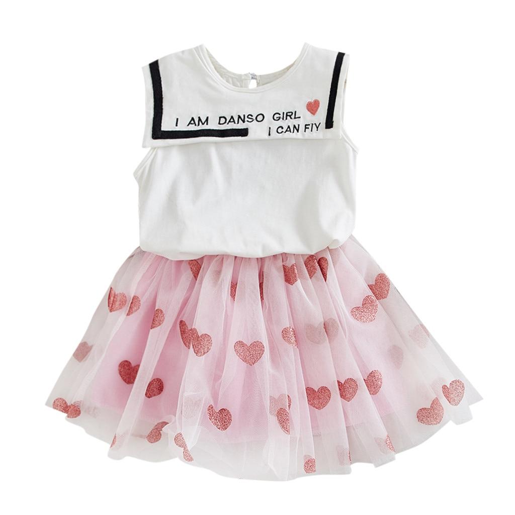 MUQGEW 2019 Baby's Sets Letter Sleeveless Vest Tops baby girl clothes Heart Print Skirts newborn baby girl clothes bebek giyim