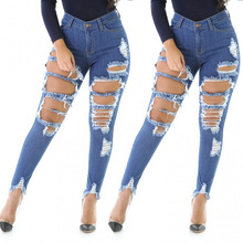 Jeans Women High Waist Skinny Pencil Pants Casual Street Style Ripped Hole Slim Fit Plus Size