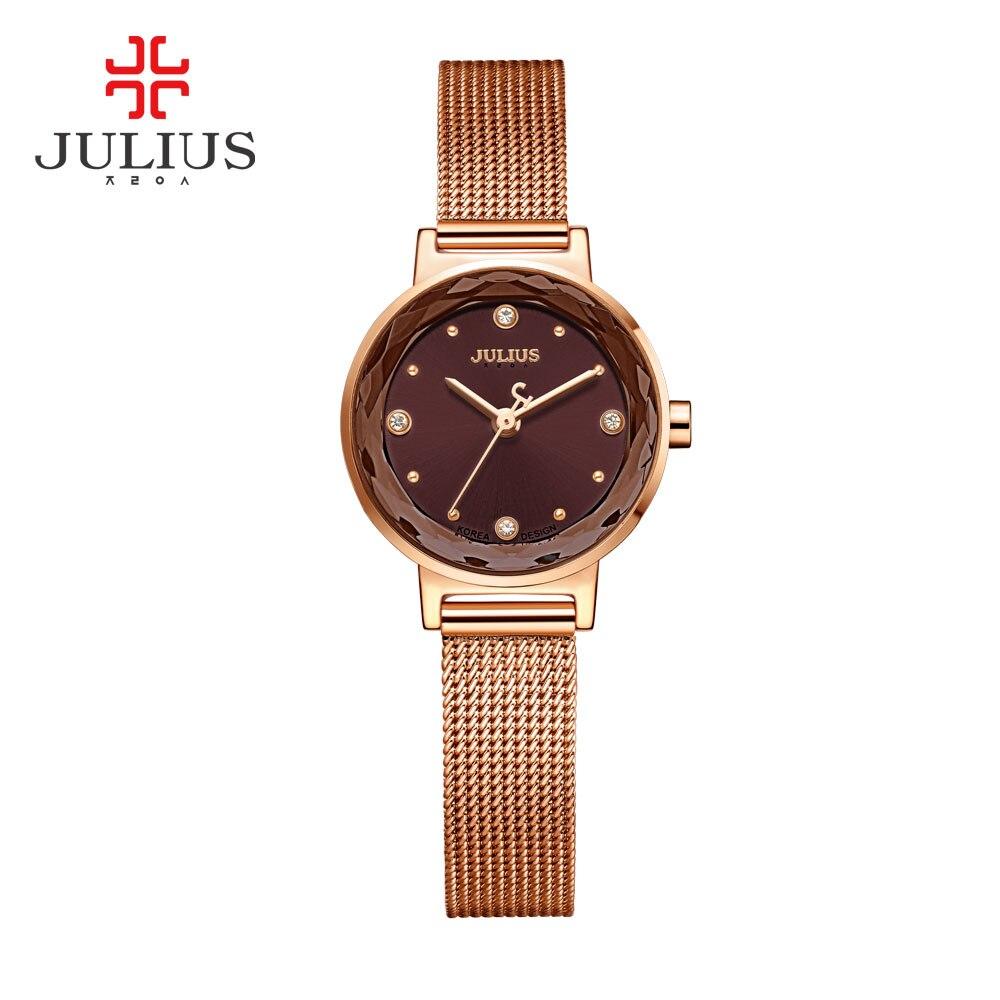 2017 New JULIUS Womens Watch Top Brand Gold Steel Mesh Belt Bracelet Hour Clock Montre