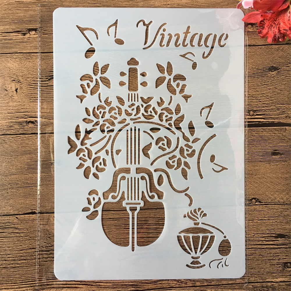 A4 Vintage Music Violin DIY Craft Layering Stencils Painting Scrapbooking Stamping Embossing Album Paper Card Template