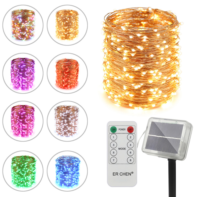 Remote Control Solar Powered Led String Lights , 20/30/50M 200/300/500 Leds Copper Wire Waterproof 8 modes Fairy Lights for Xmas