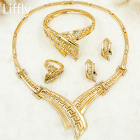YIWU CZ 2017 African Classic New Gold Jewelry Bride Fashion Crystal Design Necklace Ring Bracelet Women's Jewelry Set