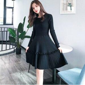 Image 4 - Elegant Women Sweater Dress 2018 Winter Solid ruffles Long Sleeve Sweater Dress Knee Length Female A Line Knitted Dress Vestidos