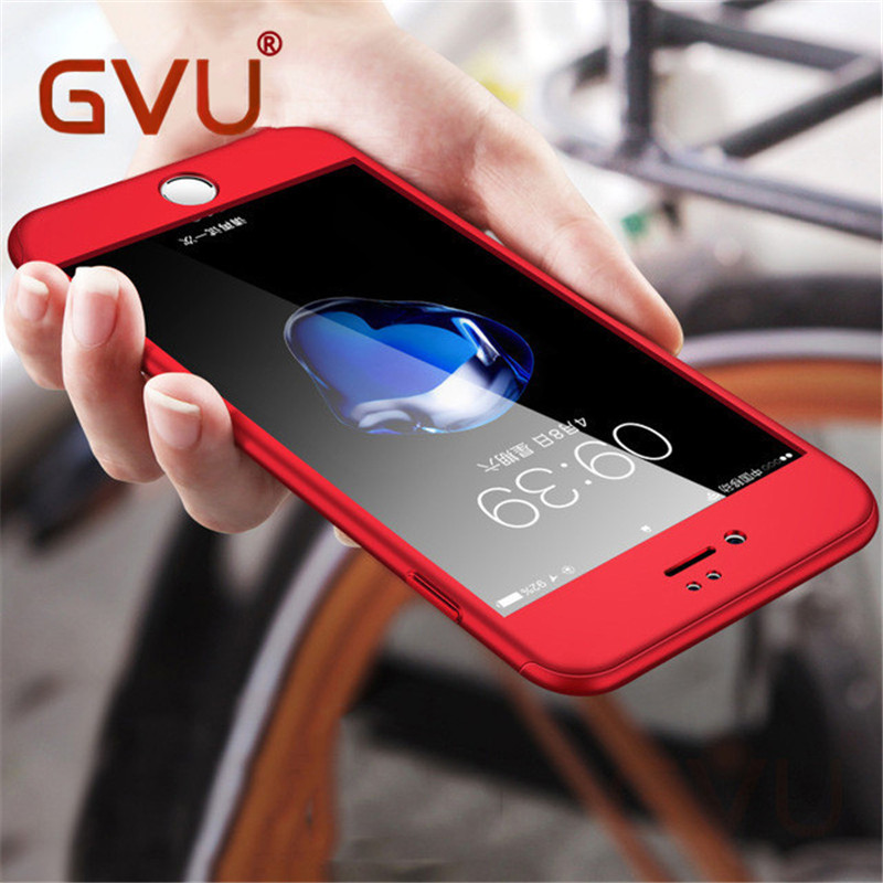 GVU Full Cover Red Case For iPhone 6 6S 5S 5 with Tempered Glass 360 Degrees Case For iPhone 7 7 Plus 6 Capa Phone Hull Case ...