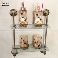 Antique Copper Double Deck Cosmetics Rack Bathroom Make Up Table Glass Shelving Bathroom Stand Bathroom Accessories