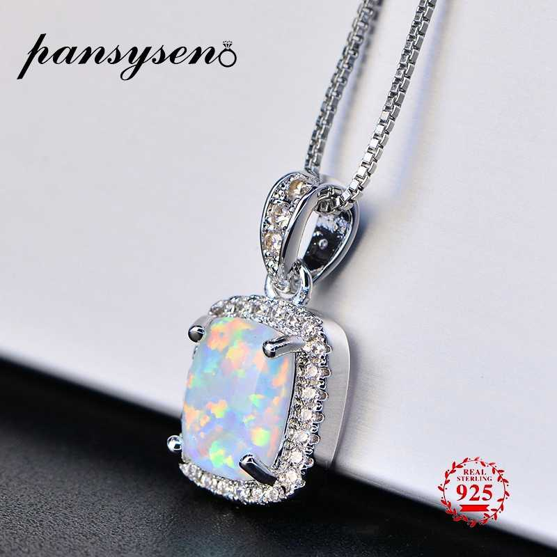 PANSYSEN Real 925 Sterling Silver Pendant Necklaces 2019 New 9*7mm Natural White Pink Blue Opal Necklace Birthday Gifts For Girl