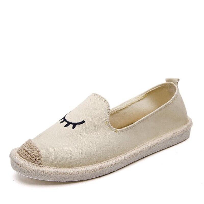 Slip Mocasines Primavera Otoño Black Khtaa Zapatos Paja Plana On Casuales Bordar Cómodo apricot Mujeres Ojos Pescador Calzado O7zTqP
