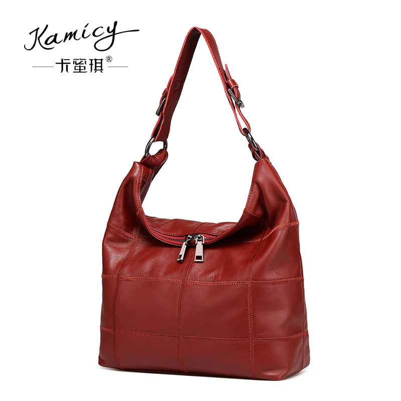 2017  Genuine  Leather  Women  bags  ladies  hand  bags  Summer new fashion single shoulder bag  leisure  big bags red and black 2016 spring and summer free shipping red new fashion design shoes african women print rt 3