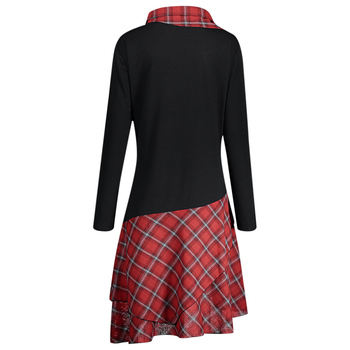 Rosegal Stand Collar Long Sleeve Plaid Spliced Lace Plus Size s Women Dress Casual Straight 2019 Fall Dresses Female Vestido 1