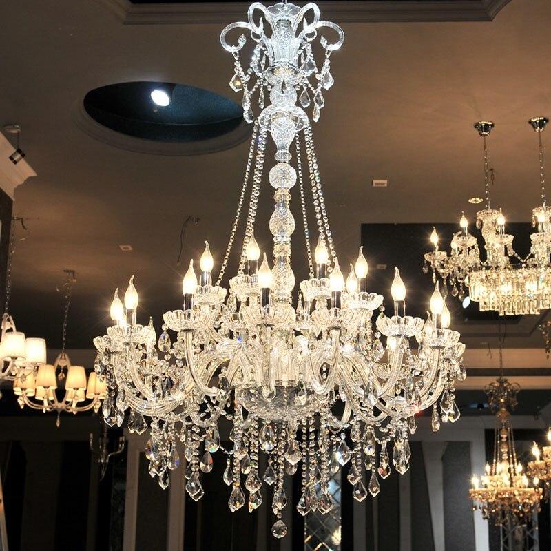 Duplex maison grand Lustre en cristal Led Lustre éclairage pour salon église hôtel Hall Long grand Lustre E14 Lampadari