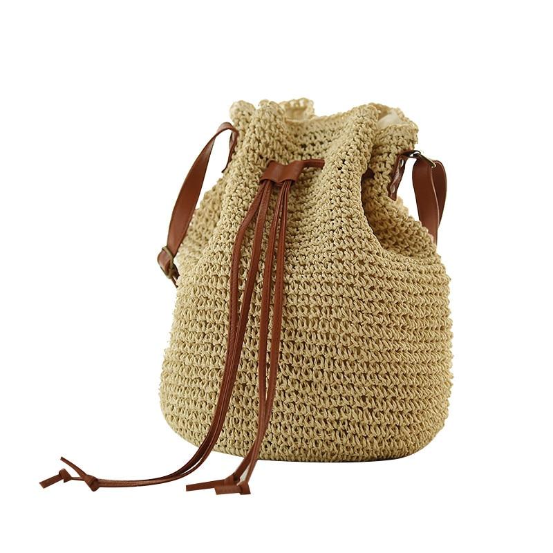 술 짚 짠된 가방 Drawstring 양동이 구성표와 함께 비치 가방 밀 짚 가방 시리즈 어깨 가방 시리즈 BP0063