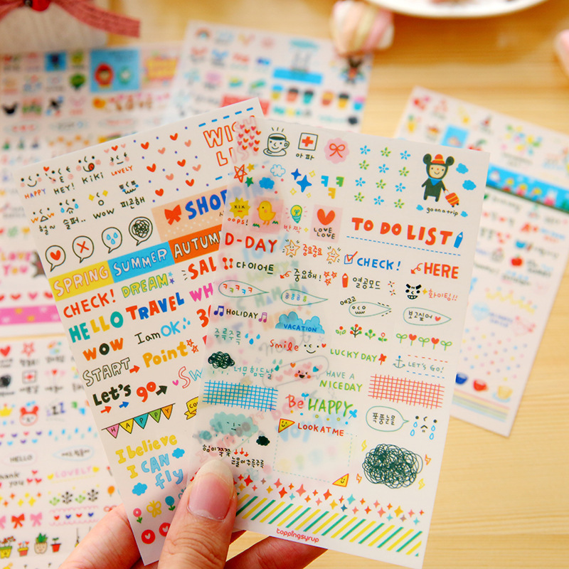 6 Sheets/lot Cute Life Painting Diary Laptop Stickers Girls Lovely simple life Decorative Notebook Calendar Memo Cartoon sticker