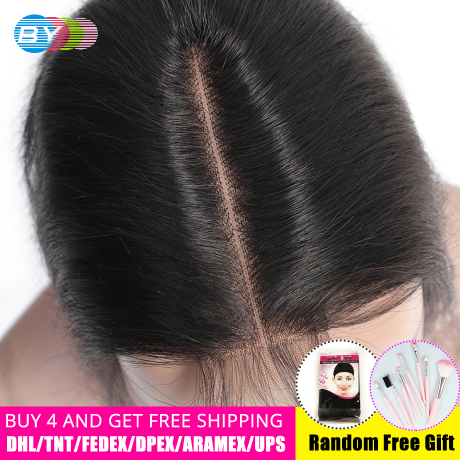 BY 2x6 Brazilian Straight Hair Natural Non-Remy Hair Closure With Baby Hair