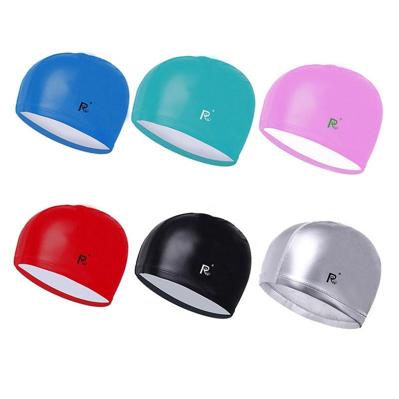 Swimming caps adults New Elastic Waterproof PU Fabric hats E