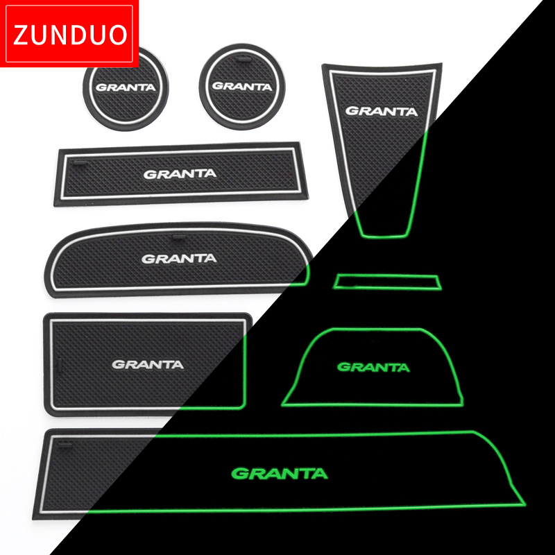 ZUNDUO Portão pad slot Para LADA GRANTA Não-tapetes antiderrapantes Porta Interior Pad/Copo vermelho/azul/tapetes brancos 16 PCS 9 PCS 7 PCS