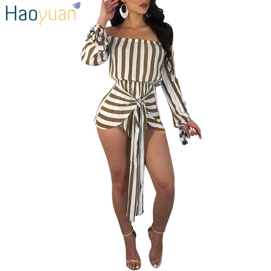 HAOYUAN S-XXL Rompers Womens Jumpsuit 2018 New One Piece Bodysuit Summer Overalls Off Shoulder Long Sleeve Bandage Sexy Playsuit