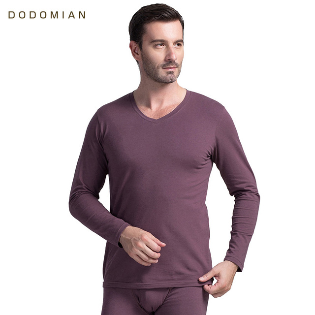 Marca do Homem Underwear Térmico Longo Johns Algodão Calças Wram DODOMIAN  Rodada Homens Pescoço do Homem b4d54f67498f5