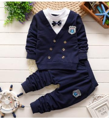 2018 Spring and Autumn Long Sleeve  Boys Clothes Set Korean Fashion Cotton Pullovers 1 2 3 4 years old Baby Clothing Set QHQ008 2017 new boys clothing set camouflage 3 9t boy sports suits kids clothes suit cotton boys tracksuit teenage costume long sleeve
