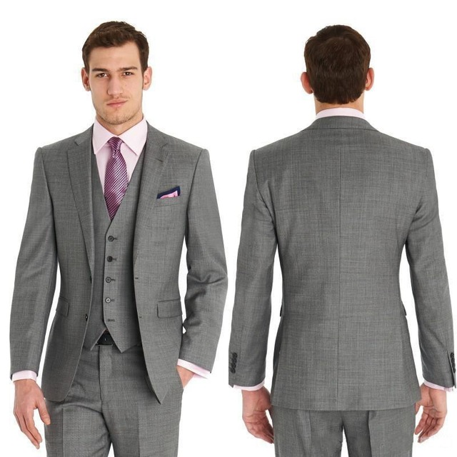Fashionable Two Buttons Light Grey Groom Tuxedos Groomsmen Mens ...