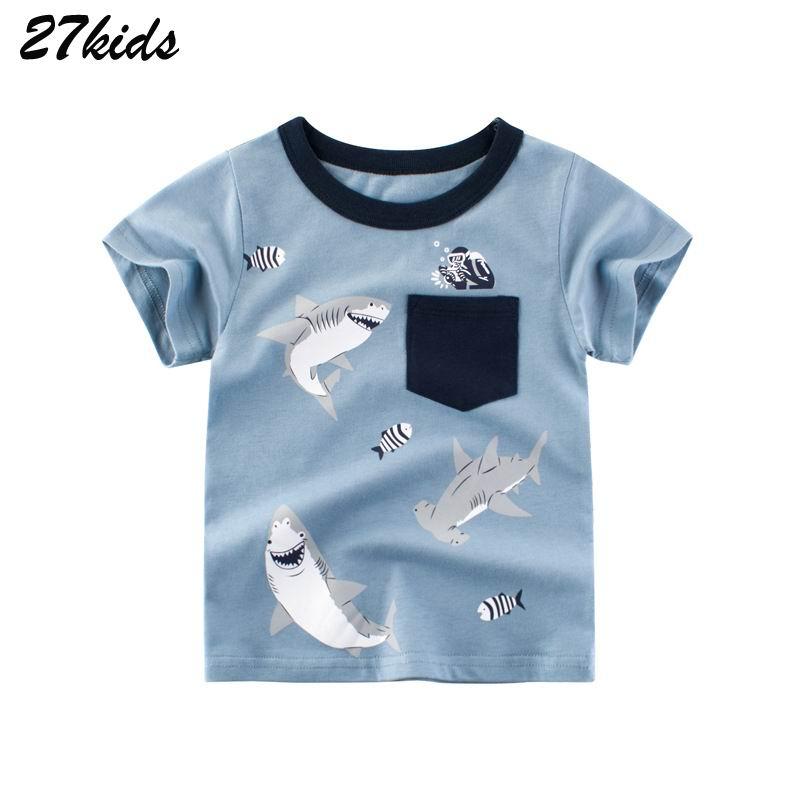 27kids Shark Print Boys T Shirts For Kids Clothes Children T-Shirts Pocket Teenager 2-7Years Summer Tops