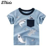 Boys T-Shirts Kids Clothes Teenager Tops Shark-Print 27kids 2-7years Children Summer