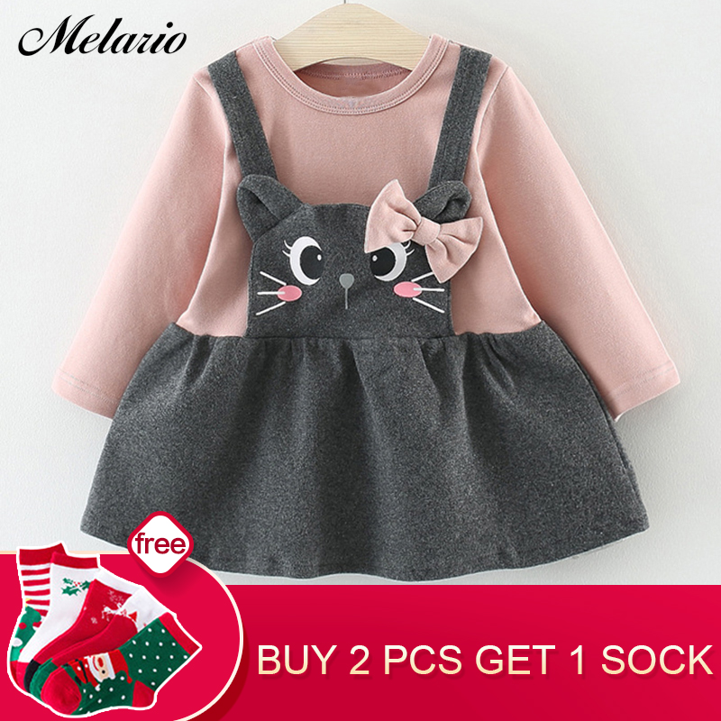 цены на Melario Baby Dress 2018 Autumn Winter Baby Girls clothes Long Sleeve Princess Girls Dress Kids Clothes Children princess dresses