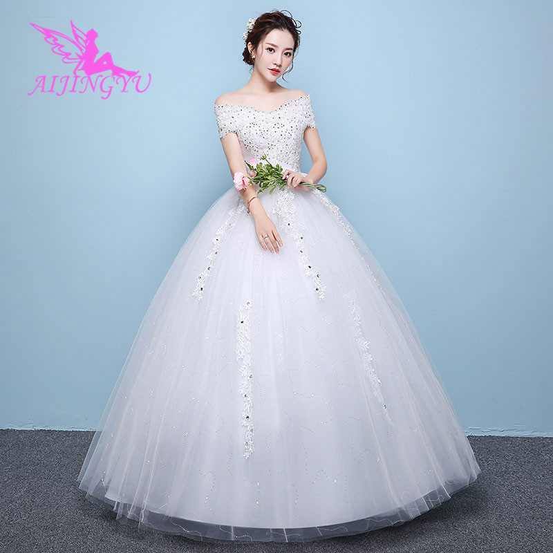 AIJINGYU 2018 Sexy Free Shipping New Hot Selling Cheap Ball Gown Lace Up Back Formal Bride Dresses Wedding Dress WK605
