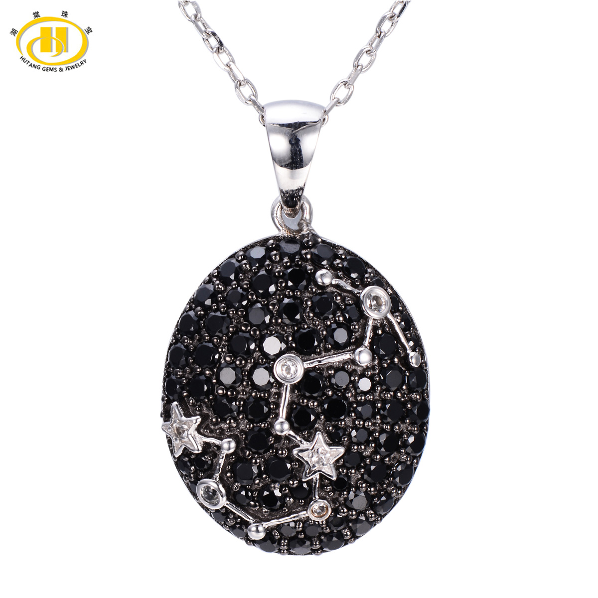 Hutang Classic Scorpio Constellation Black Spinel & White Topaz Pendant Solid 925 Sterling Silver Necklace Free Chain Gift