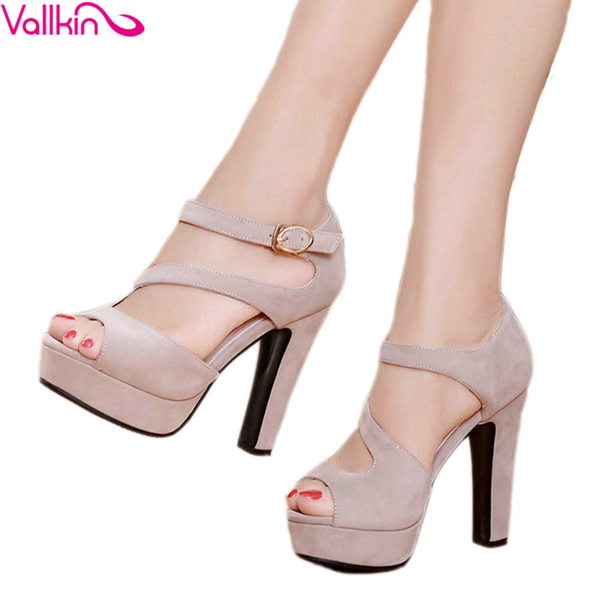 VALLKIN 2017 Buckle Strap High Heel Woman Pumps Sexy Peep Toe Gladiator Summer Women Shoes Platfrom Wedding Shoes Big Size 34-43 stylish women s peep toe shoes with buckle strap and chunky heel design