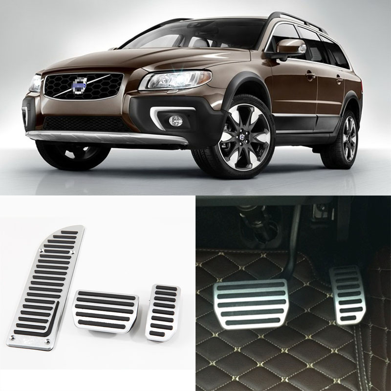 Brand New 3pcs Aluminium Non Slip Foot Rest Fuel Gas Brake Pedal Cover For Volvo XC70 AT 2012-2014 brand new 3pcs aluminium non slip foot rest fuel gas brake pedal cover for volvo v40 at 2013 2017