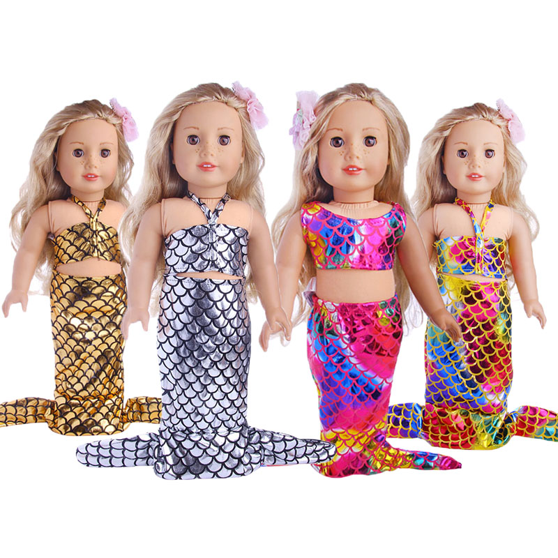 LUCKDOLL Fashion Mermaid Swimsuit Fit 18 Inch American 43cm Baby Doll Clothes Accessories,Girls Toys,Generation,Birthday Gift