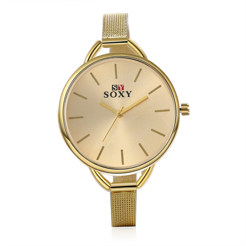 fea91279e26c New Gold Watches Fashion Big Dial Quartz Watch Women Full Stainless Steel  Strap Relojes Female Ladies Wistwatch masculino-in Quartz Watches from  Watches on ...