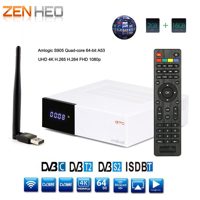 DVB-T2 DVB S2 GTC Receptor Satellite Decoder + USB WIFI HD 1080p BISSkey Powervu 4K Satellite Receiver Android 6.0 TV Box freesat v7 hd powervu satellite tv receiver dvb s2 with 3months free africa cccam account stable on starsat 5e