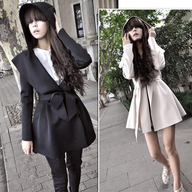 Winter Autumn Fashion Vintage Women Female Goth Long Sleeve Hoode Tunic Loose Overcoat Women Trench Coat Peplum Outerwear CL0753
