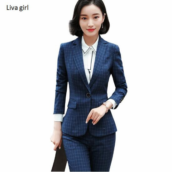 Spring Fashion Plaid pants suits women new temperament business slim blazer and pants sets office ladies Interview work wear