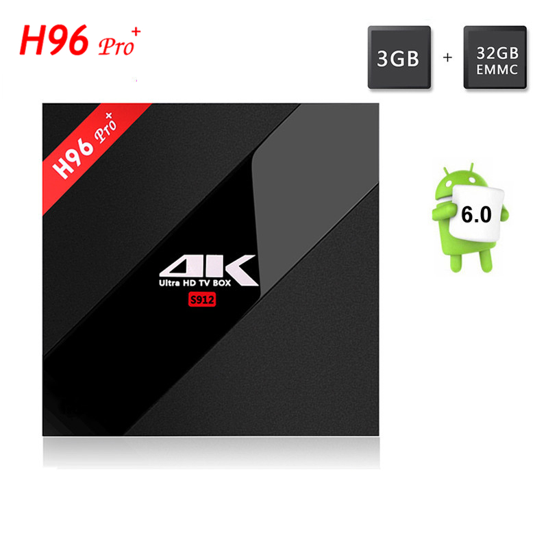 H96 Pro+ TV BOX S912 Octa Core Android 7.1 HD RAM 3GB ROM 32GB Smart tv XBMC 16.1 Wifi 2.4G&5.0G Bluetooth4.1 1000M zidoo x6 pro hd 4k 2k h 265 smart android tv box rk3368 bluetooth xbmc kodi 2g 16g 3d octa core 1000m lan dual wifi