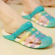 Droshipping New Candy Color Large Size Thick Sandals Slip on Woman Croc Anti-Ski