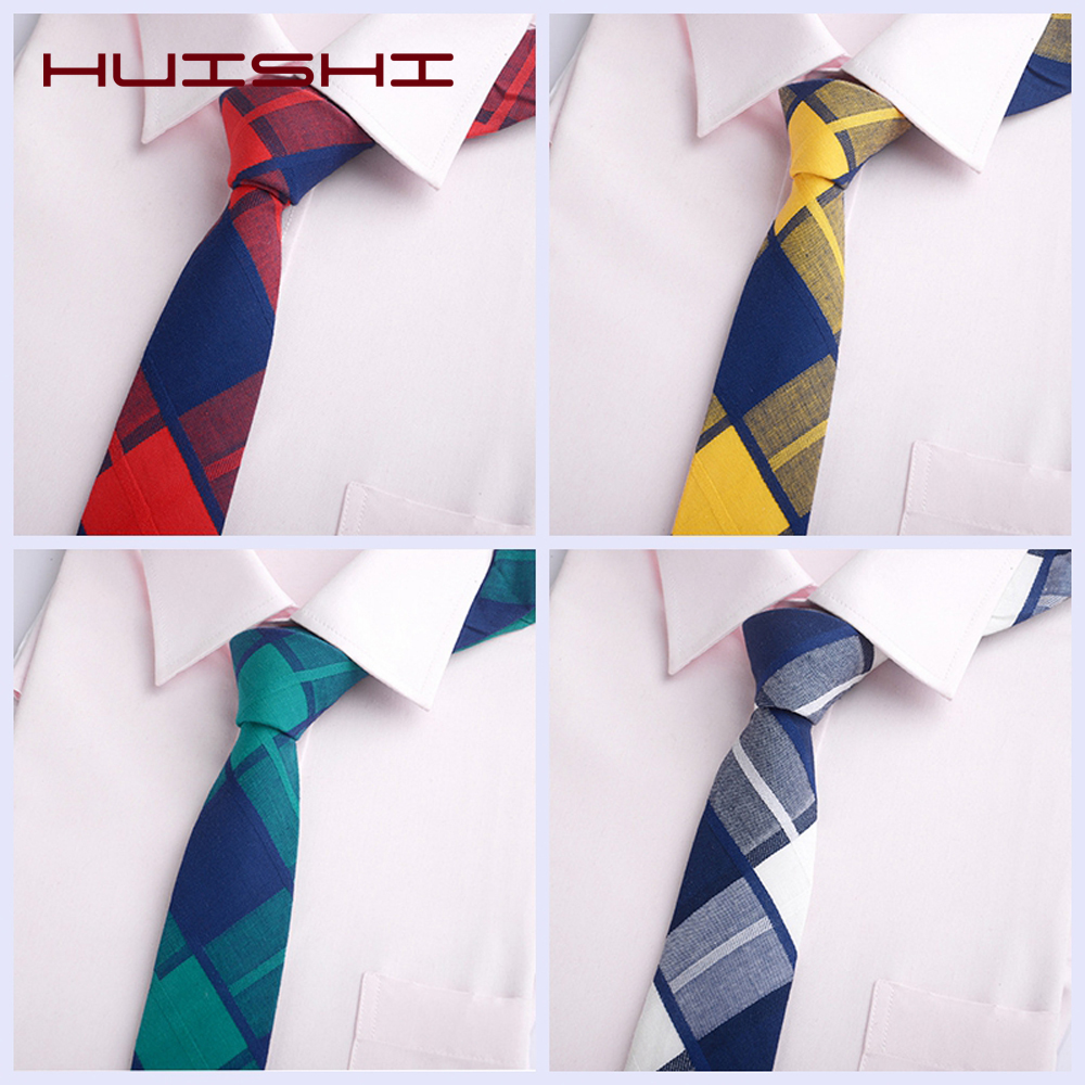 HUISHI Men's Plaid Stripe Tie Cotton Classic Sweet Rainbow Suit Neckties Women Male Cotton Skinny Slim Ties 6cm Colourful Cravat