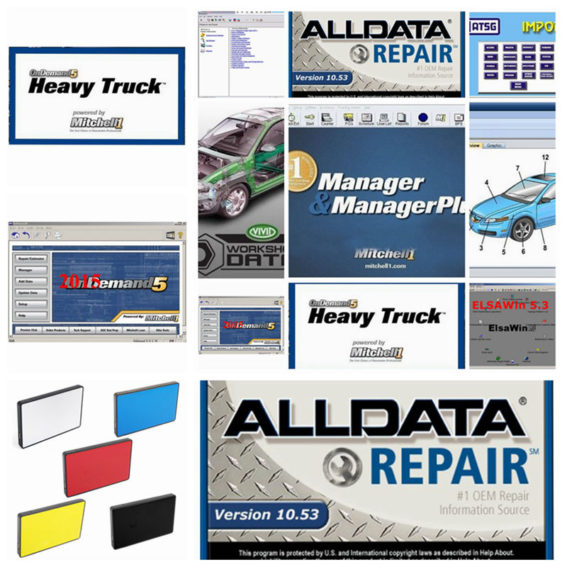Alldata Auto Repair Data Software Alldata 10.53 and Mit/chell od5 software 50in 1tb <font><b>hdd</b></font> usb3.0 Vivid workshop heavy truck image