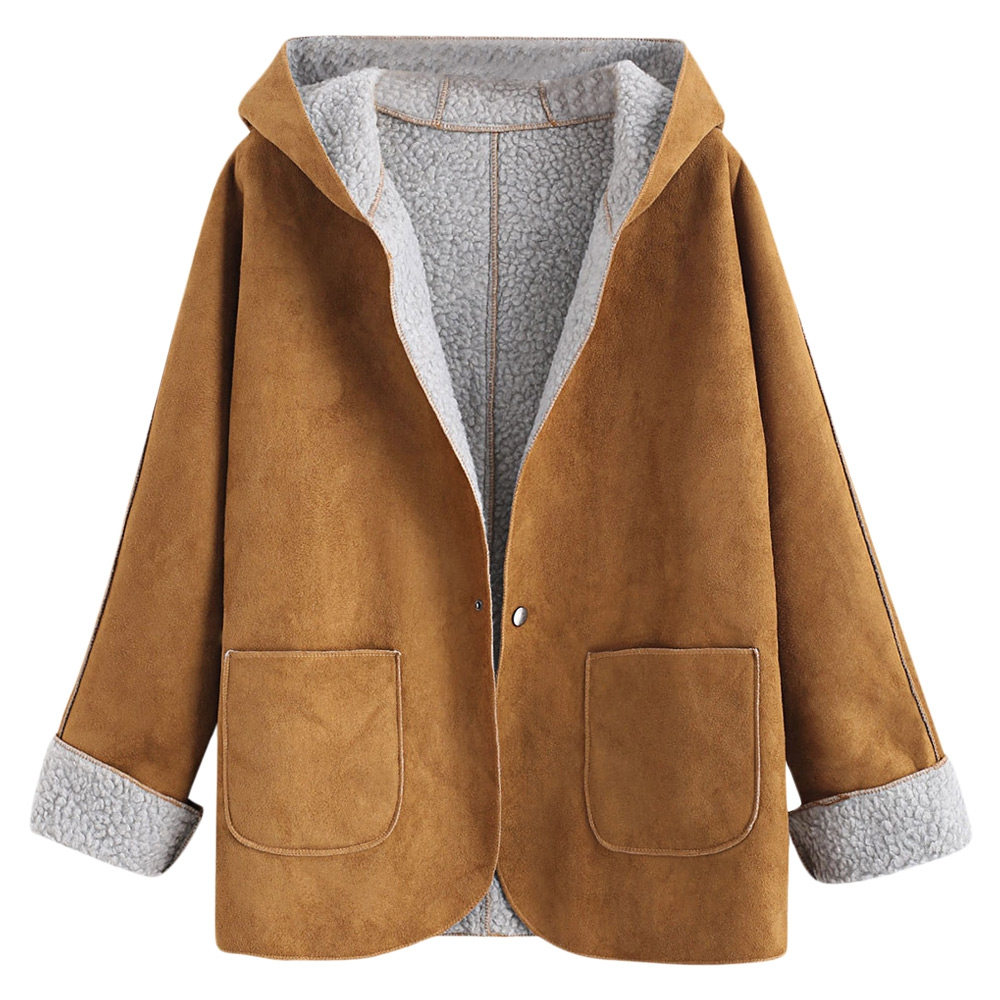 Casual Faux   Leather   Snap Button Hooded Cuffed Sleeves Sheepskin Coat Jacket Women Winter Jackets Overcoat Clothing Ladies Coats