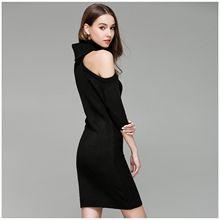 Для женщин новые модные трикотажные водолазки с открытыми плечами Повседневное Твердые Bodycon платье дамы сексуальное платье Демисезонный Половина рукава мин