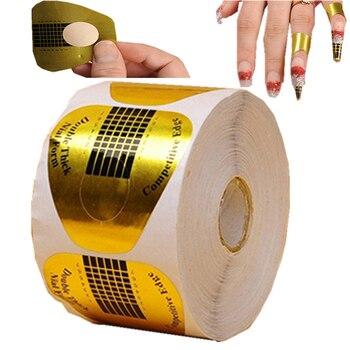 Silenorth, herramientas de extensión de punta de arte en forma de U dorada, formas de guía, Gel de descarga UV de uñas acrílicas francesas, 500 unids/lote