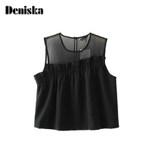 DENISKA Sleeveless Black Pleated Crop Tops Patchwork See Through Short Blouses Fashion Shirts Ladies Summer Casual Tops