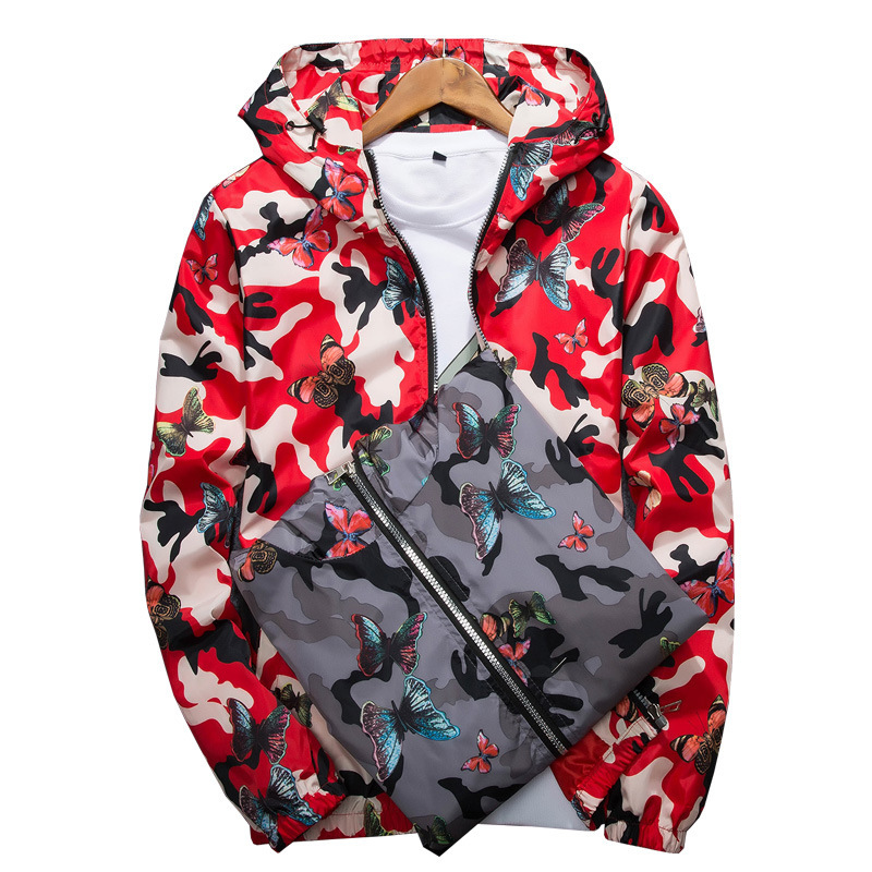 Hooded   Jackets   Women Coats 2019 Summer Quick Drying   Basic     Jackets   Windbreaker Women Printed Butterfly Lightweight   Jackets   Famale