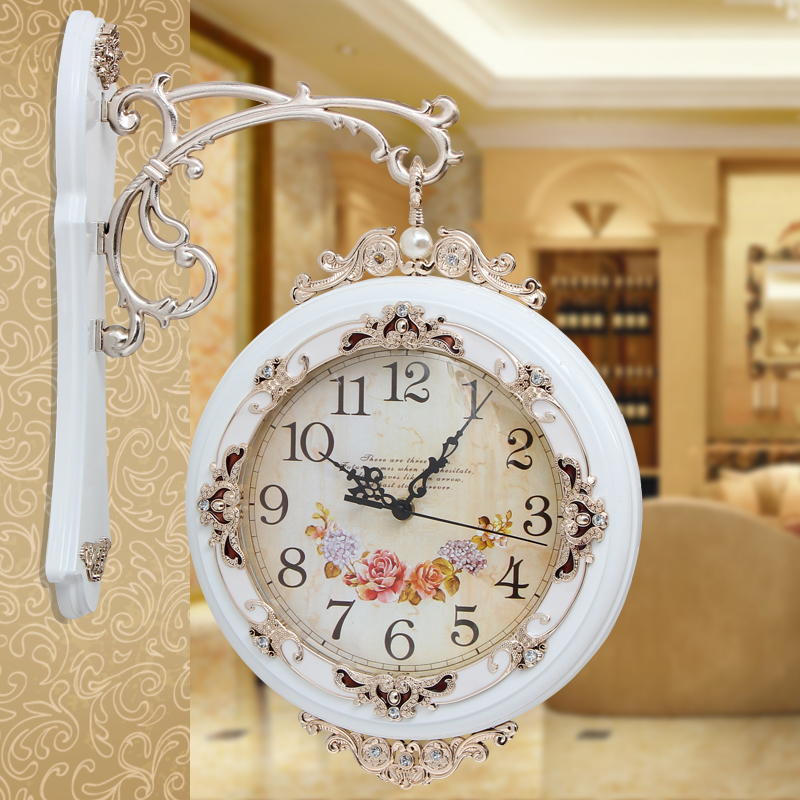 Us 80 91 10 Off Diameter 26 5cm Fashion Wall Clock Two Sides Double Faced Large Pocket Watch Modern Silent In Clocks From